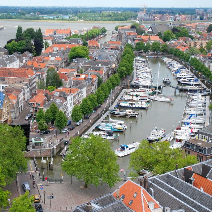 Bovenaanzicht Nieuwe Haven Dordrecht Fotograaf Frits Baarda